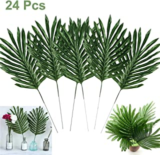 Artiflr 24 Pcs Faux Palm Leaves with Stems Artificial Tropical Plant Imitation Safari Leaves Hawaiian Luau Party Suppliers Decorations,Tiki,Aloha Jungle Beach Birthday Leave Table Decorations