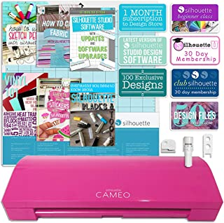 Silhouette America Cameo 3 Pink Edition with Bluetooth, Auto Adjusting Blade, Vinyl Trimmer, 12x12 Mat, 100 Designs, 110v-220v Power Cord Warranty