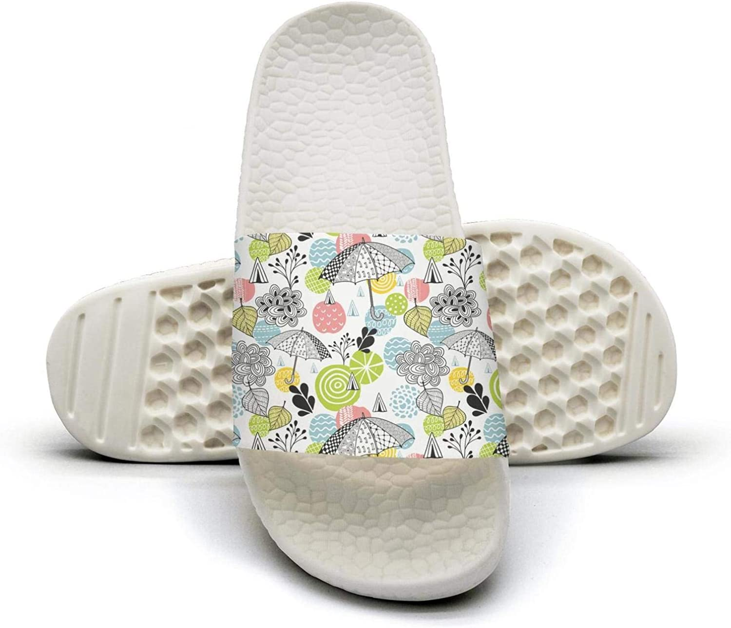 Ina Fers.Slide Sandals For Women Abstract Spring Time colorful Umbrellas Indoor Bath Slipper Anti-Slip House Sandal