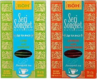 BOH Tea Seri Songket Lemon with Mandarin & Lime and Ginger, 20 Sachets, Pack of 2, Total 40 Teabags, Flavoured Black Tea Best Served with ice or cold