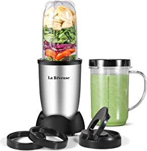 La Reveuse Personal Size Blender 250 Watts Power for Shakes Smoothies Seasonings Sauces with 2 Pieces 16 oz Mug -Silver (Renewed)