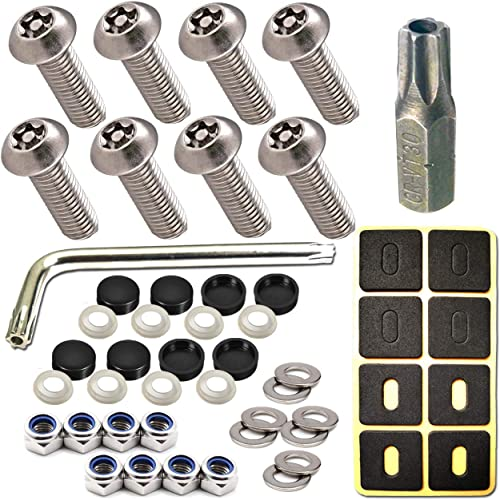 "ZXFOOG License Plate Screws Anti Theft- 8 PC Button Head Torx M6 3/4"" Stainless Steel Tamper Proof Machine Car Tag Bo..."