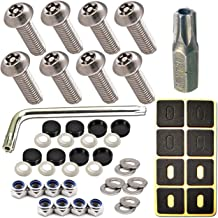 Stainless Steel License Plate Screws -No Rust Plate Screws for Fastening License Plate Cover, Front or Rear License Plate Frames with Screw Black Caps (Anti-Theft Mechanical Screws)