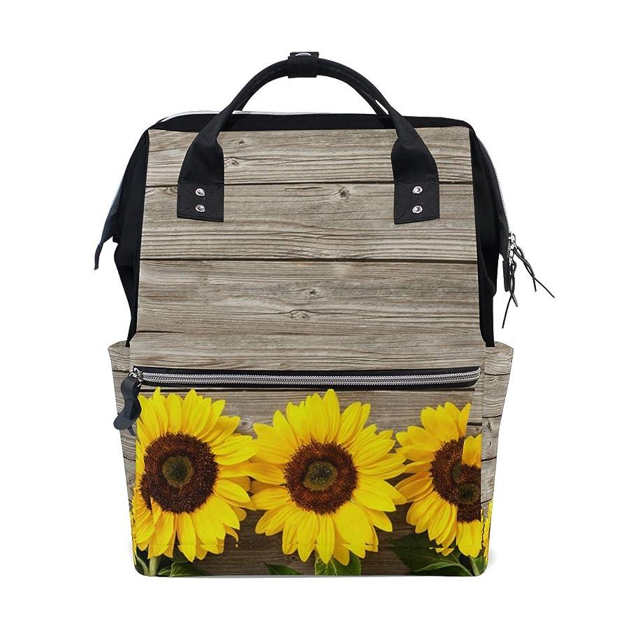 Sunflowers Floral Wood School Backpack Large Capacity Mummy Bags Laptop Handbag Casual Travel Rucksack Satchel For Women Men Adult Teen Children