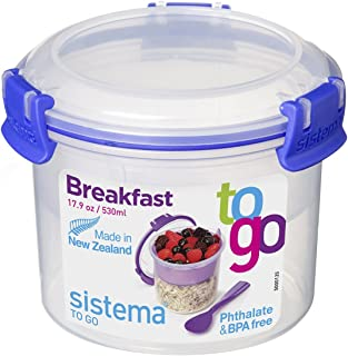 حاوية تخزين الطعام الدائرية Klip It من Sistema سعة 473 مل, بلاستيك, كولومبيا بلو, 17.9-Ounce