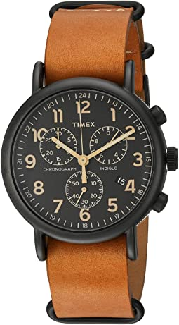 Timex - Weekender Chrono Oversize Leather Slip-Thru Strap