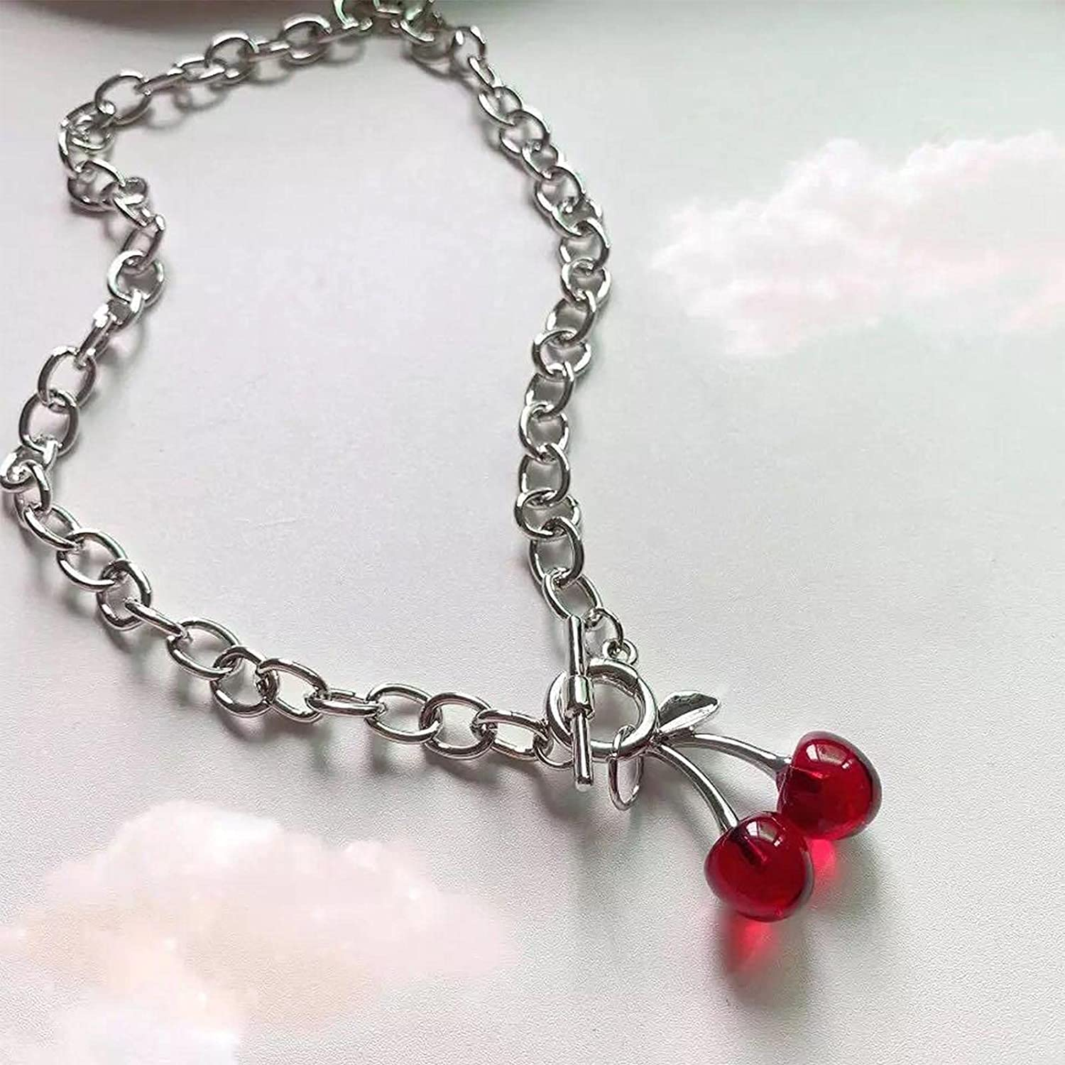 Sttiafay Punk Gothic Necklace Choker Red Cherry Pendant Necklace OT Toggle Clasp Paperclip Link Chain Necklace Jewelry for Women Girls