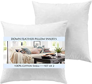 YesterdayHome Set of 2-22x22 Decorative Throw Pillow Inserts-Down Feather Pillow Inserts-White