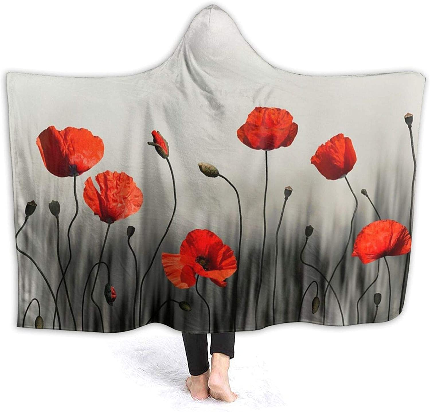 Cozy Hooded Blanket Red Poppy Oklahoma City Mall Flowers Plush Manufacturer direct delivery Art Flann Super Soft
