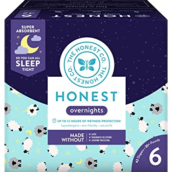 The Honest Company Overnight Sleepy Sheep Diapers | Sustainably Harvested and Plant-Derived Materials | Hypoallergenic | Size 6 (42 Count)
