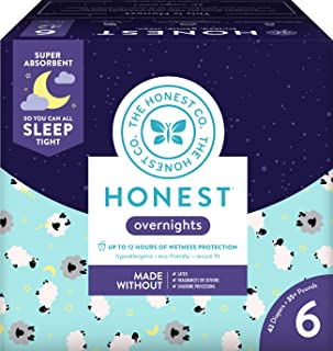 The Honest Company Overnight Sleepy Sheep Diapers, Size 6 | Sustainably Harvested and Plant-Derived Materials | Hypoallergenic | 42 Count