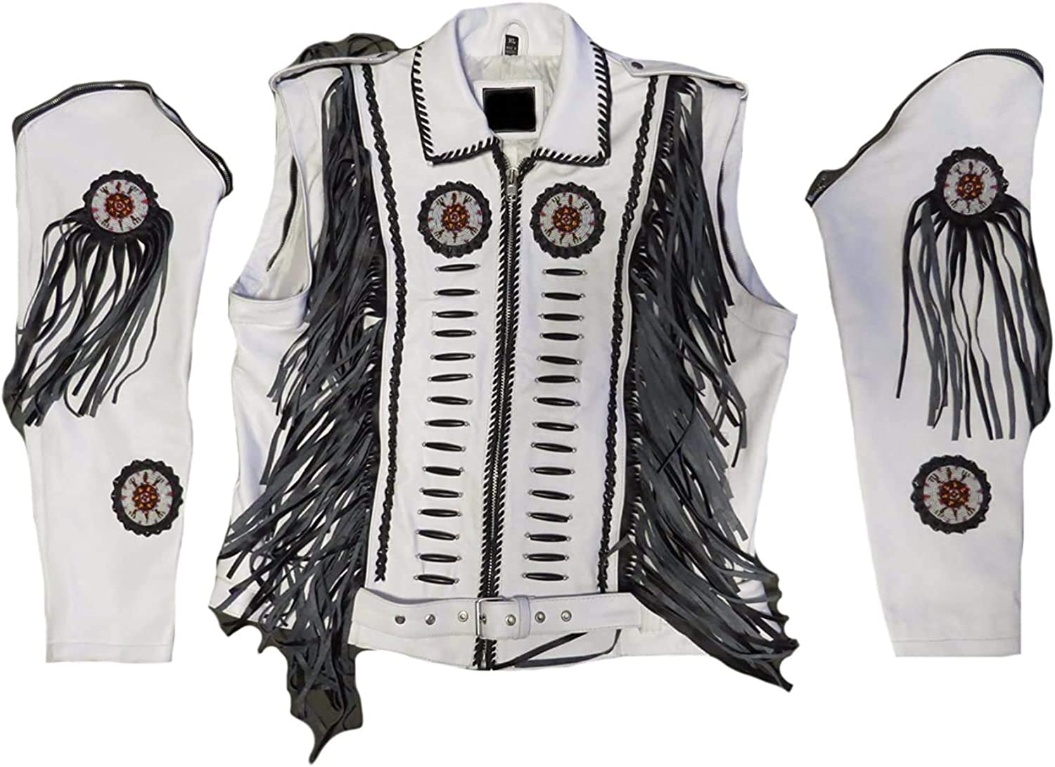 Men's Western Popularity Genuine Leather Boned Motorcycle Beauty products Fringed Beaded