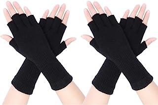 Pangda 2 Pairs Unisex Fingerless Gloves Half Finger Stretchy Knit Gloves Lengthen Wrist Mittens Winter Warm Gloves