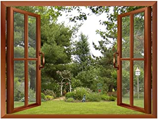 wall26 Beautiful Garden/Backyard View from Inside a Window Removable Wall Sticker/Wall Mural - 36
