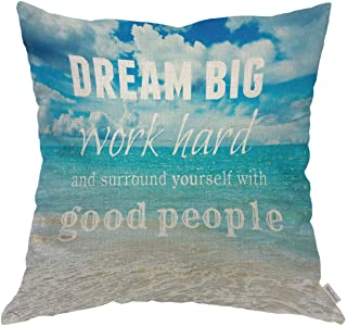 Moslion Throw Pillow Cover Case Dream Big Work Hard Inspirational Quote Navy Blue Ocean Beach Scene Cotton Linen Cushion Covers for Couch/Sofa/Boy Gilrs Bedroom Livingroom 18 x 18 inch Pillow case