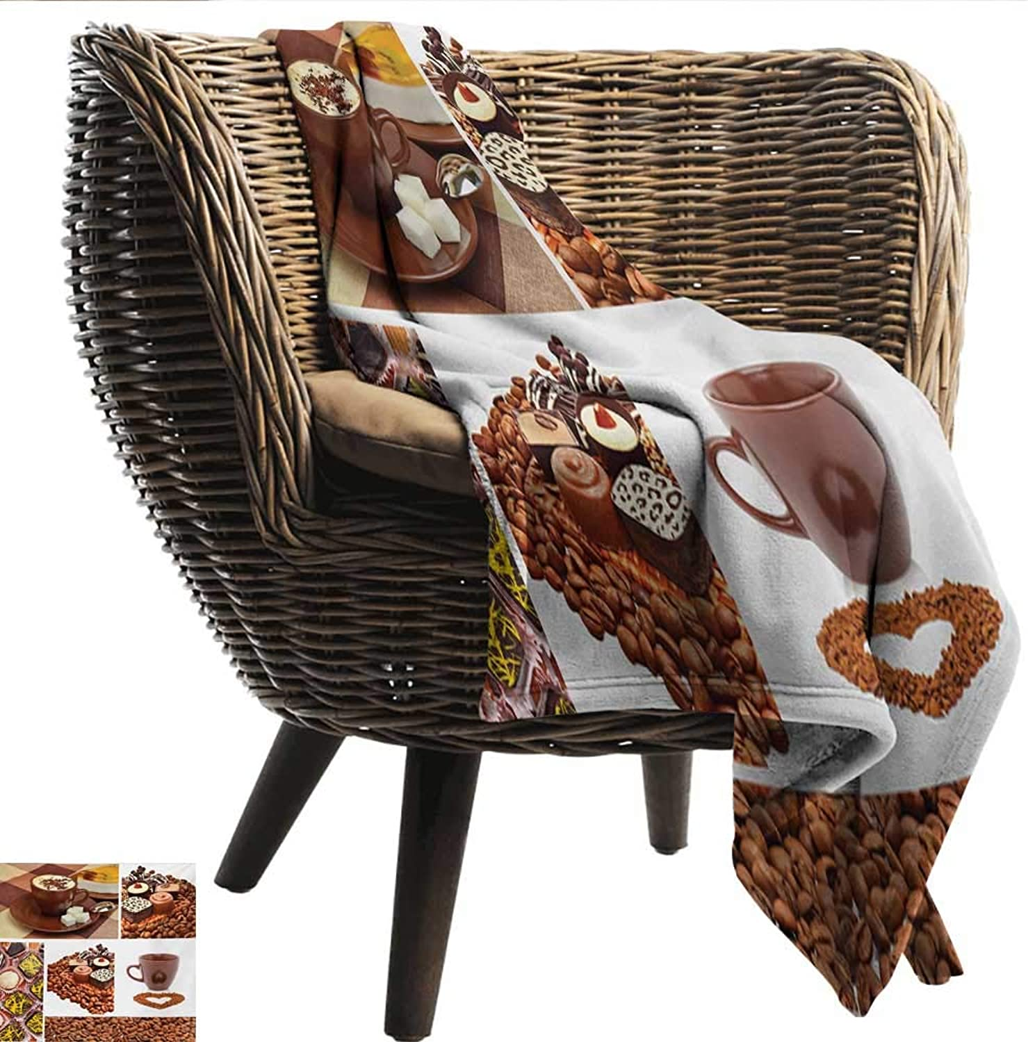 Anshesix Super Soft Blankets Kitchen Collection of Chocolate Sweets Muffins Coffee Beans and Mugs Cappuccino Pastries Print Summer Quilt Comforter W60 xL51 Sofa,Picnic,Camping,Beach,Everyday use