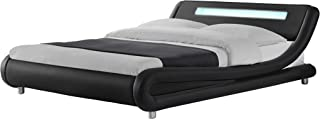Modern Contemporary Wave-Like Curve Upholstered Platform Bed LED Lights Low Profile Venice (Black, Queen)