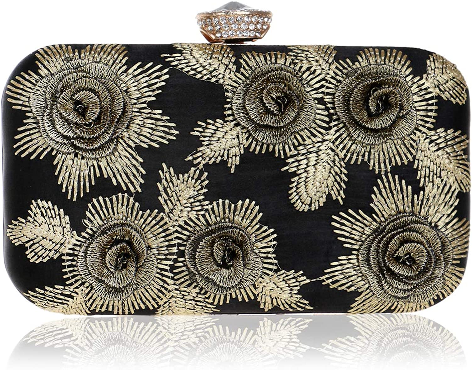FzYRY Women's Embroidered Flower Tassel Evening Bag, Suitable for Parties, Dinner Occasions