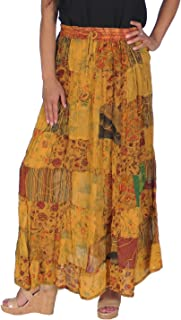 Women's Hippie Bohemian Gypsy Vintage Ethnic Patchwork Cotton Long Skirt