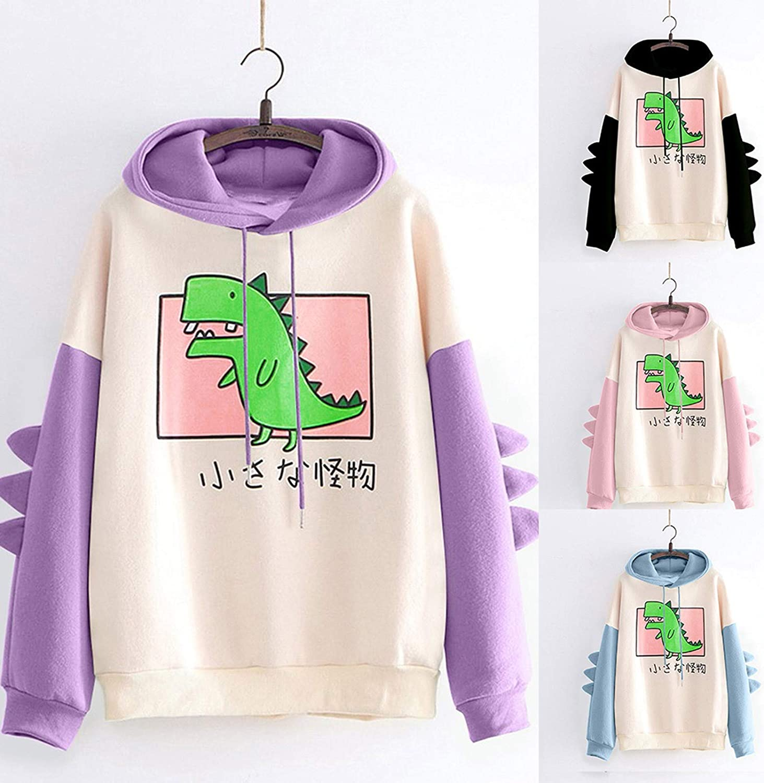 TAYBAGH Cute Hoodie for Women,Womens Teen Girls Fashion Dinosaur Print Long Sleeve Hoodies Casual Sweatshirt Blouse Tops