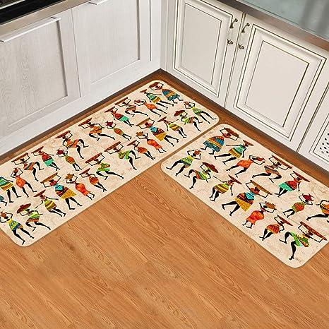 Amazon Com Sun Shine Kitchen Rug Sets 2 Piece Non Slip Kitchen Mats And Rugs African Tribes Black Women Decorative Area Runner Rubber Backing Carpets Floor Doormat Furniture Decor