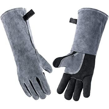 Wanyi 16 Inches 932℉/500℃ Leather Welding Gloves for Extreme Heat Resistance