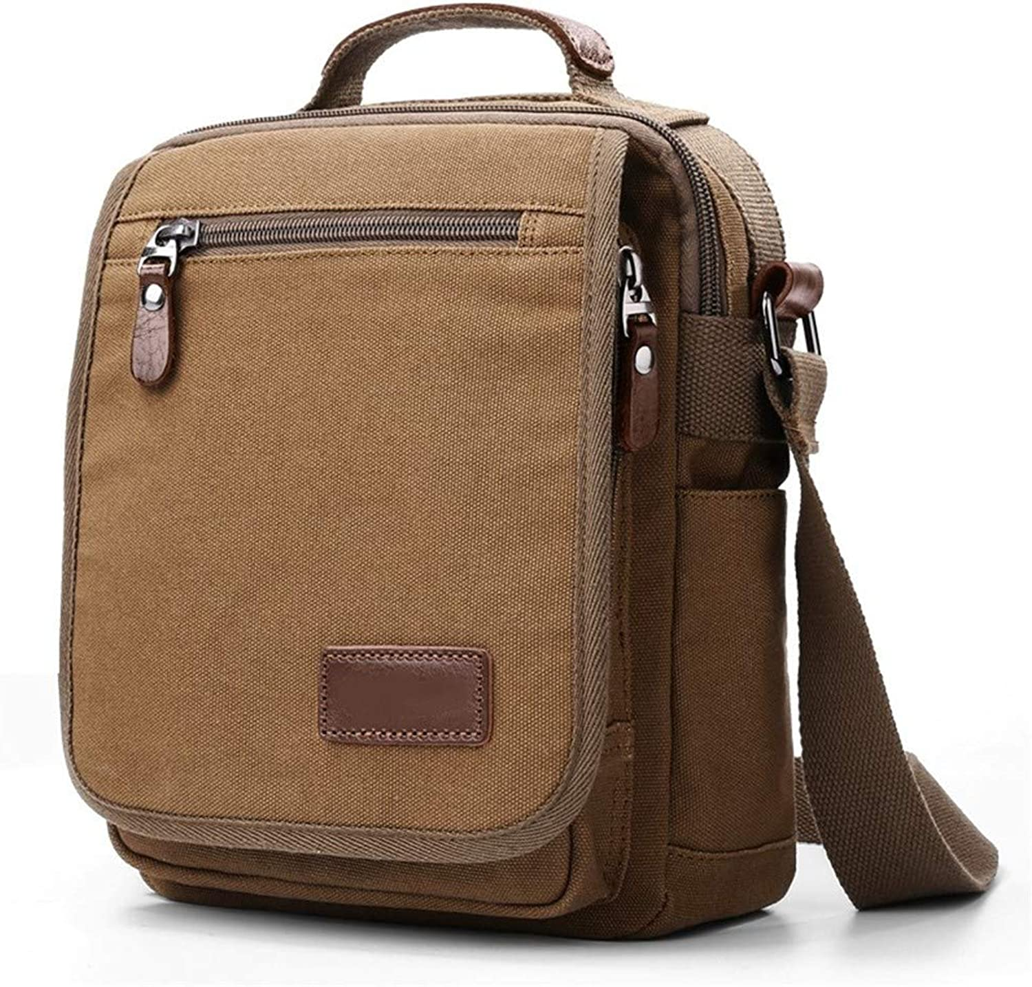 Shoulder Bag Men's Messenger Bag Business Casual Canvas Multi-Function Briefcase Backpack TrendCoffee Farbe