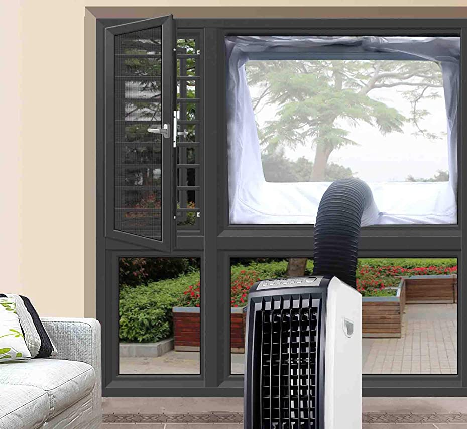 JOYOOO Window Seal for Portable Air Conditioning,Mobile Air-Conditioning Unit and Tumble Dryer Window Vent Kit Hot Air Stop Air Exchange Guards with Zip and Adhesive Fastener qxzcvr76058