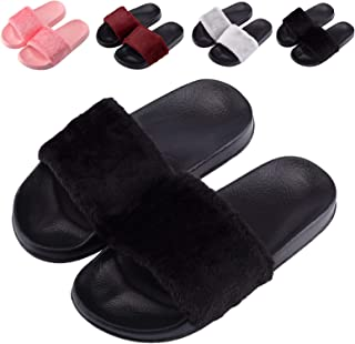 Womens Fur Slides Sandals Open Toe-Girls Slide on Sandals House Slippers-Fuzzy Slides Shoes for Indoor and Outdoor