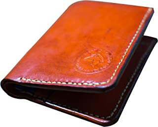 Desert Orchid Hand Stitched Vegetable Tanned Bi-fold Leather Minimalist Wallet Orange Red