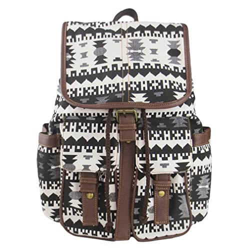 eed7e3b8af Imiflow Casual Backpacks Canvas Leather Travel Rucksack Backpack Purse for  Girls