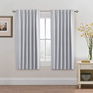 H.VERSAILTEX White Curtains for Bedroom, Back Tab/Rod Pocket Thermal Insulated Room Darkening Window White Drapes for Bedroom/Living Room - 52x63 Inches - 2 Panels, Greyish White