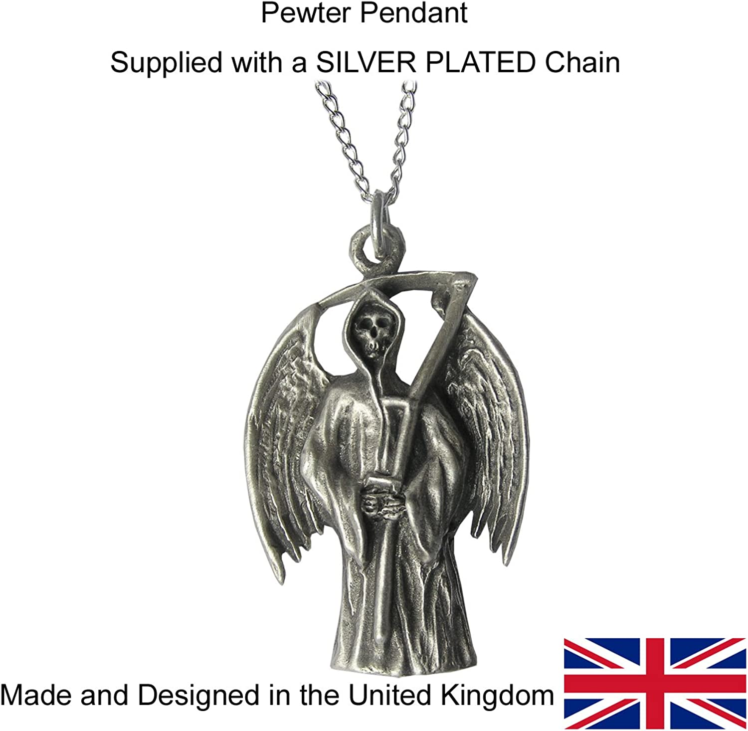 Gothic Pendant - Grim Reaper Necklace on a Silber chain