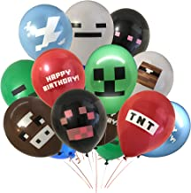 Giant 24 Pack of Pixel Miner Crafting Style Gamer Party Balloons - Large 12