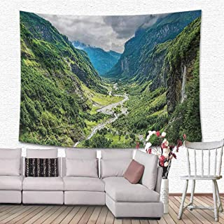 Lake House Decor Collection Wall Hanging Decorative Tapestry Valley Mountain Tree Mist Waterfall Canyon Alpine Landscape Mother Nature Theme Dorm Tapestry Home Decor 80