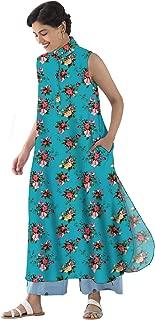 RADANYA Sleeveless Tops Tunic Kurta Kurti Floral Printed Casual Long Kurta Kurti with 2 Pockets for Womens