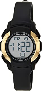 Armitron Sport Women's Gold-Tone Accented Digital Chronograph Black Resin Strap Watch, 45/7109BGD