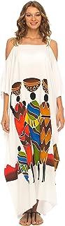 فستان قفطان طويل بتصميم كاجوال مكشوف الاكتاف للنساء من شو شي، غطاء طويل للشاطئ
