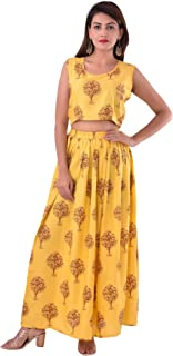 Uttam Creations Women's Yellow::Blue Top, Skirts With Shrug Set
