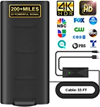 2020 Upgrade HD Digital Indoor Outdoor Amplified TV Antenna 200+Miles Range,Digital HDTV Antenna with 33ft Long Coax Cable...