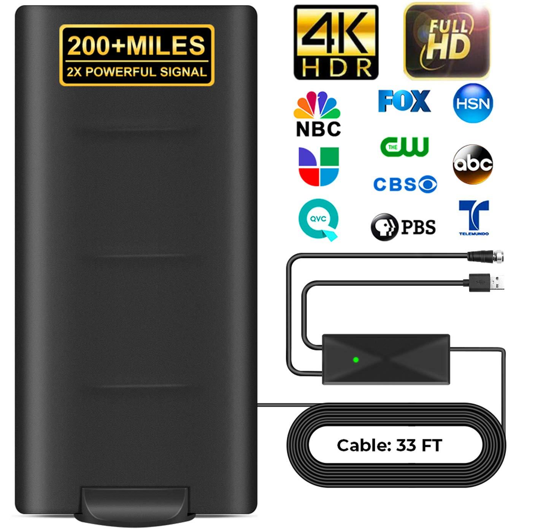 Desmontable Antena de TV Interior Exterior,320 KM Antena per DVB-T/DVB-T2 de TV Digital para de con Amplificador Inteligente de Señal,Adecuada para Canales: Amazon.es: Electrónica