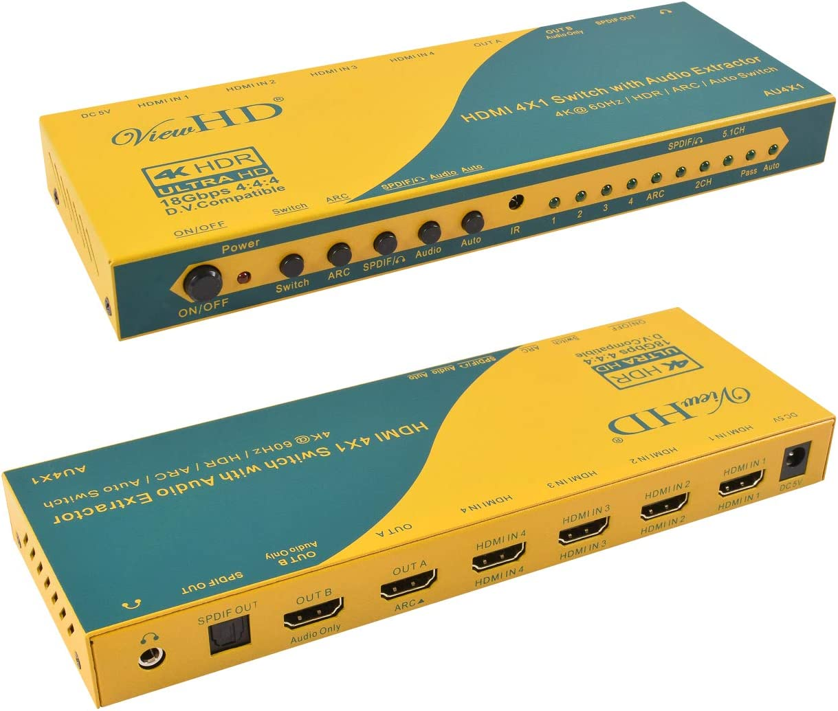 ViewHD New York Mall HDMI 4X1 Switch with H Superior Audio + Extractor Optical