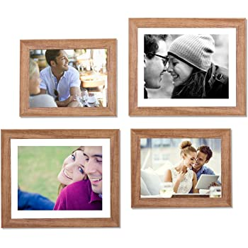 Art Street - Set of 4 Individual Brown Wall Photo Frames Wall Hanging (2 Units 6X8, 2 Units 8X10 inch)