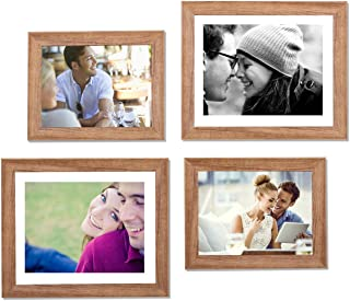 Art Street - Set of 4 Individual Brown Wall Photo Frames Wall Hanging (2 Units 6X8, 2 Units 8X10 inch)