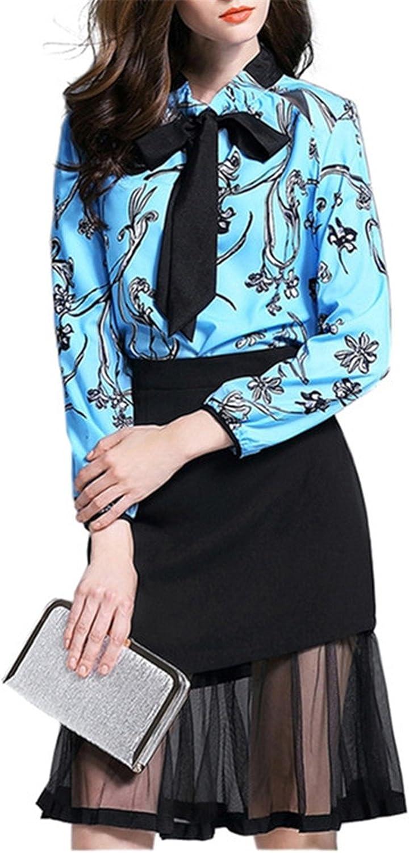 Henraly Women Summer Ladies Elegant Floral Print Bow Tie Women Work Wear Office Dress Two Piece Vestidos