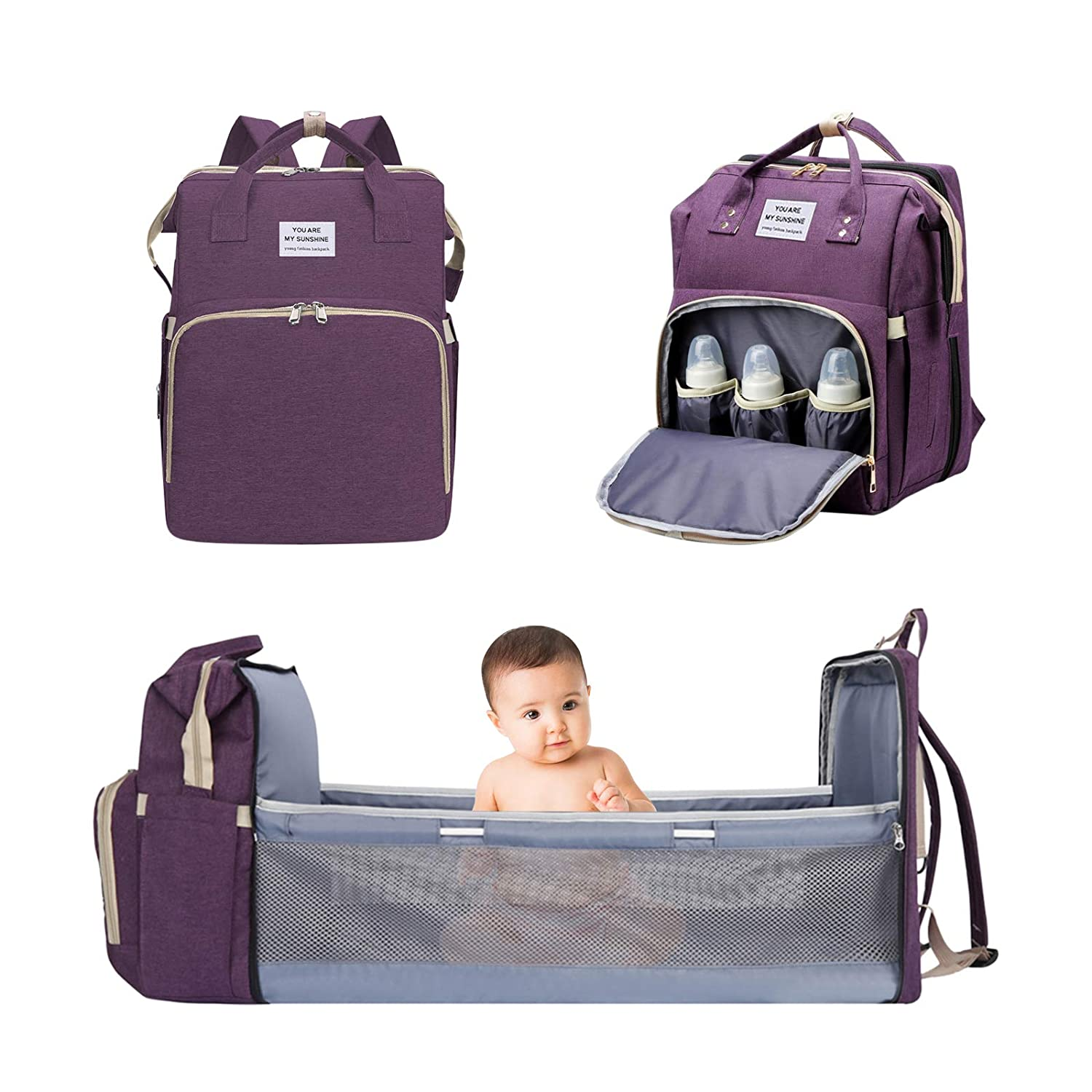 ituansenBaby Diaper Bag Backpack for Travel - Portable Nappy Bag with Changing Pad & Stroller Straps, Foldable Baby Bed Travel Bassinet, Waterproof Newborn Diaper Bag Tote(Lavender)