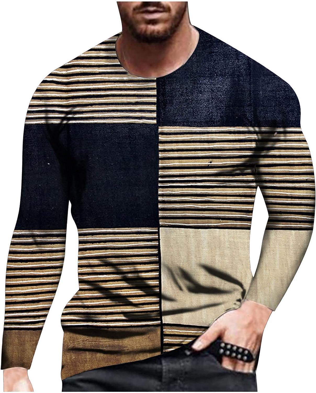 Bravetoshop Men's 3D Printed T-Shirts Novelty Graphic Long Sleeve Blouse Street Fashion Shirt for Men