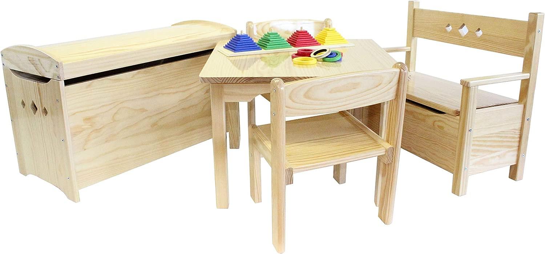 Mobili in Legno di Pino per Bambini Set Cinque Pezzi, Tavolino, Due sedie, Una cassapanca e Un Baule, laccate  aro