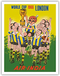 Pacifica Island Art 1966 World Cup London, England - Air India - Maharaja Soccer Player - Vintage Airline Travel Poster - Fine Art Print - 11in x 14in