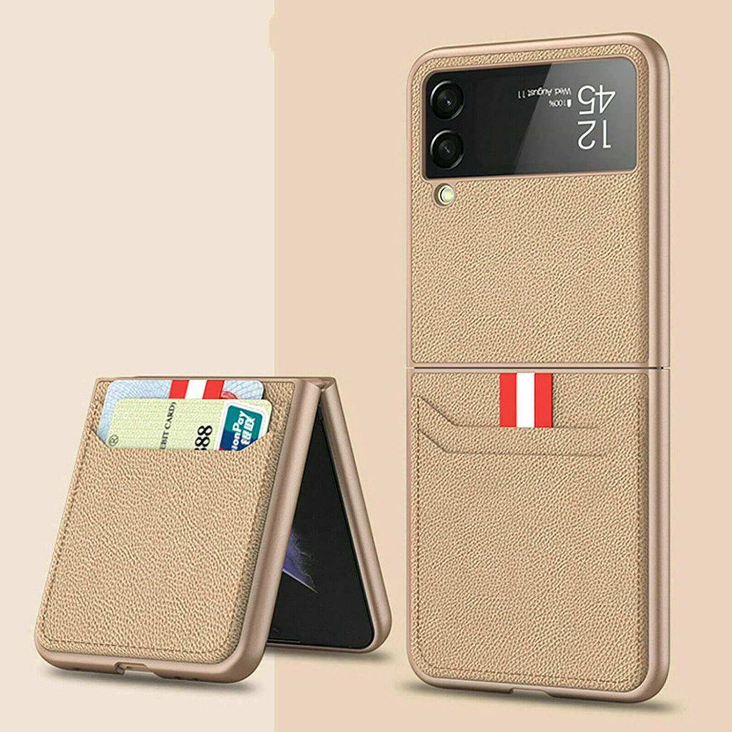 for Samsung Galaxy Z Flip 3 5G Case with Card Holder - Luxury PU Leather Phone Folding Case Cover Full Protective Cases (Gold)